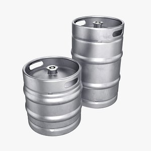 3D beer kegs set