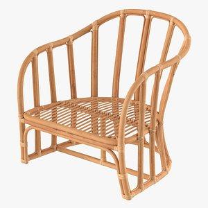 3D Vintage Rattan Armchair