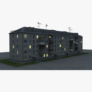 3D low poly five-story house for night exterior