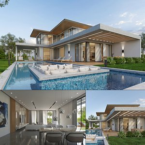 3D Luxury Villa Exterior and Interior model