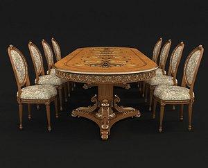 3D chair table european
