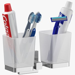 toothbrush shaving holder set 3D model