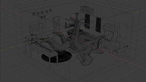 3D model Monster room animation