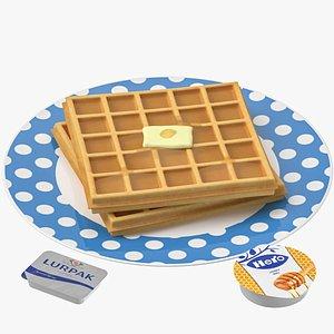 3D model waffle set