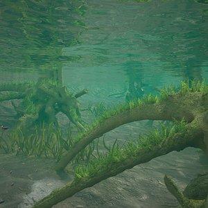 3D river underwater scene model