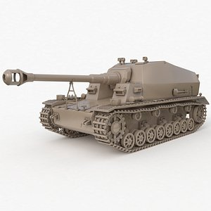3D Tank K18 Auf Panzer Clay VRay model