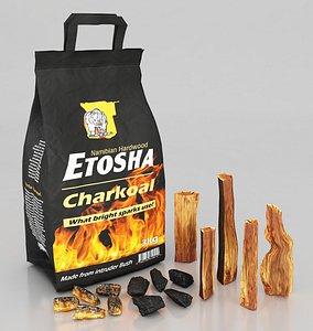 wood charcoal firewood 3D