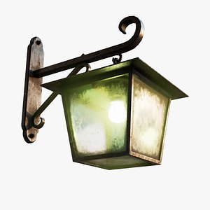 Antique Black Rusty Wall Lamp 3D model
