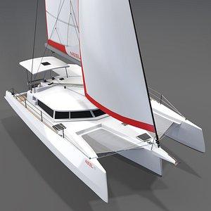 Trimaran Neel 43 Sailboat 3D model