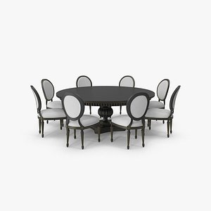 Round Dining Table Set for 8 Persons 3D model