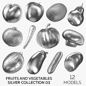 Fruits and Vegetables Silver Collection 03 - 12 models 3D model