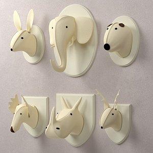 3D model wall restoration hardware animal