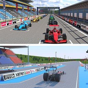 3D Dragway Stadium and F1 Race Track model