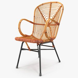 Vintage Bamboo Lounge Chair 3D model