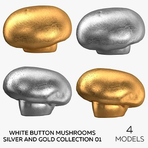 White Button Mushrooms Silver and Gold Collection 01 - 4 models 3D model