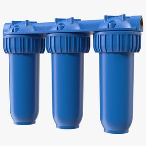 Three Stages Water Filter Housing Blue 3D model