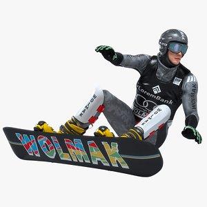 3D snowboarder snow board