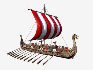 3D Long Viking Ship