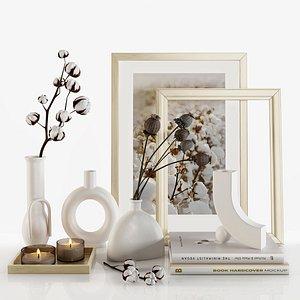 3D set vases cotton