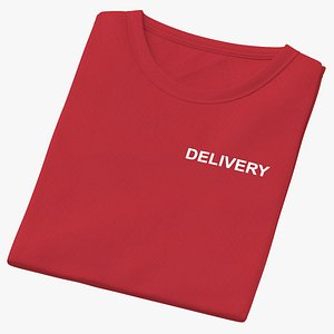 Female Crew Neck Folded Red Delivery 01 3D model