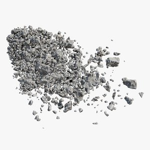 Animated Concrete Explode Front 3D model