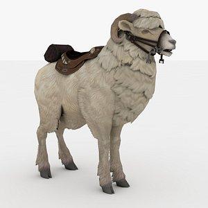 White Goat Rigged 3D model