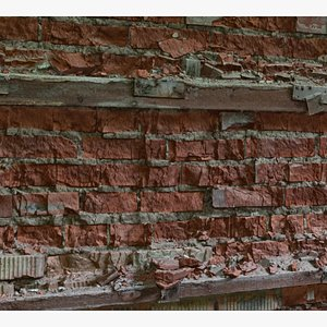 3D photogrammetry old wall brick model
