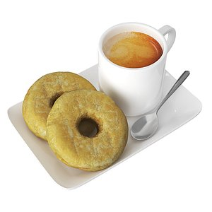 Donuts With Coffee Cup 3D model