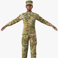 Black Female Soldier Camo T Pose Fur