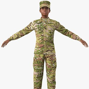 3D black female soldier camo