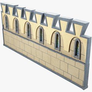 medieval wall segment 3D