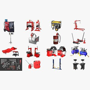 3D Autoservice Garage Machine and Tools Pack model