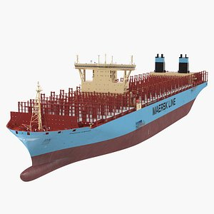 3D Maersk Madrid Container Ship Empty