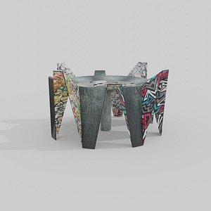 3D Abandoned pavilion model