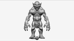 3D Troll Berserker - Highpoly Zbrush project model