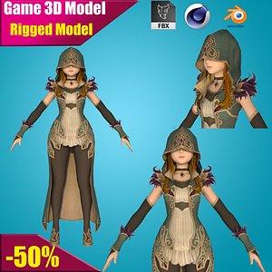 girl cartoon rig 3D model