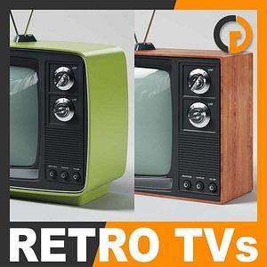 retro style television sets 3d model