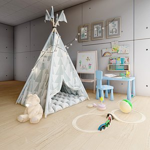 3D Wigwam children s house tent in the playroom 3D model
