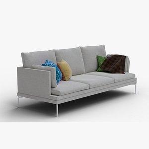 3D zanotta: william three-seat sofa