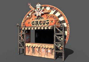 old horror circus stand 3D