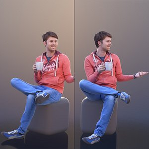 3D 10312 John Casual Sitting Guy Drinking Coffee And Talking