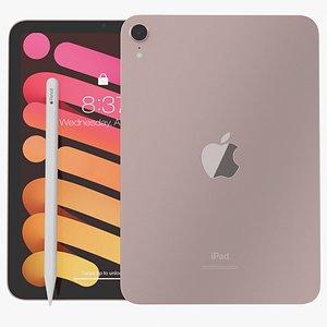 3D model iPad mini 2021 Pink With Apple Pencil