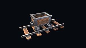 stylized trolley rails 3D model