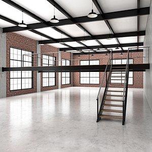 3D industrial loft office