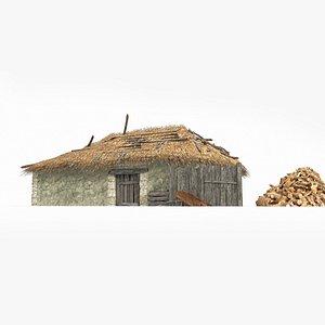 big thatched house 3D model