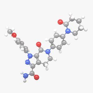 3D Apixaban - C25H25N5O4 Molecular Structure