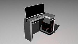 3D ESCRITORIO CON PC model