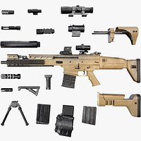 FN SCAR - H - 25 Attachments - Customizable - Highly Detailed - PBR
