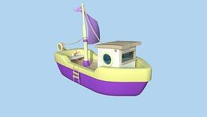 3D Cartoon Boat 04 - Purple Yellow - Low Poly Ship model