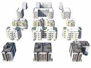3D Apartament Buildings Pack model